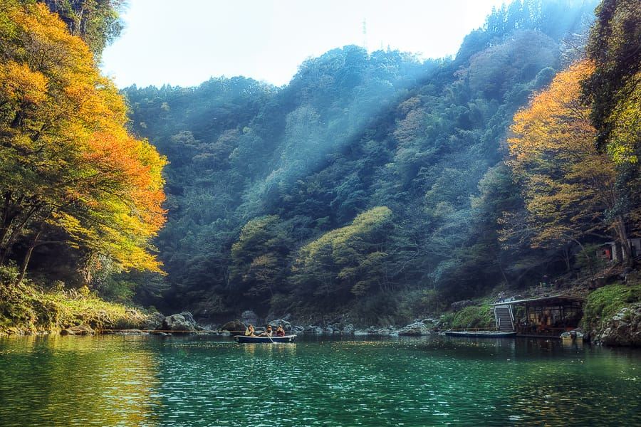 Autumn in Japan at the Takachiho Gorge, Gokase-gawa River