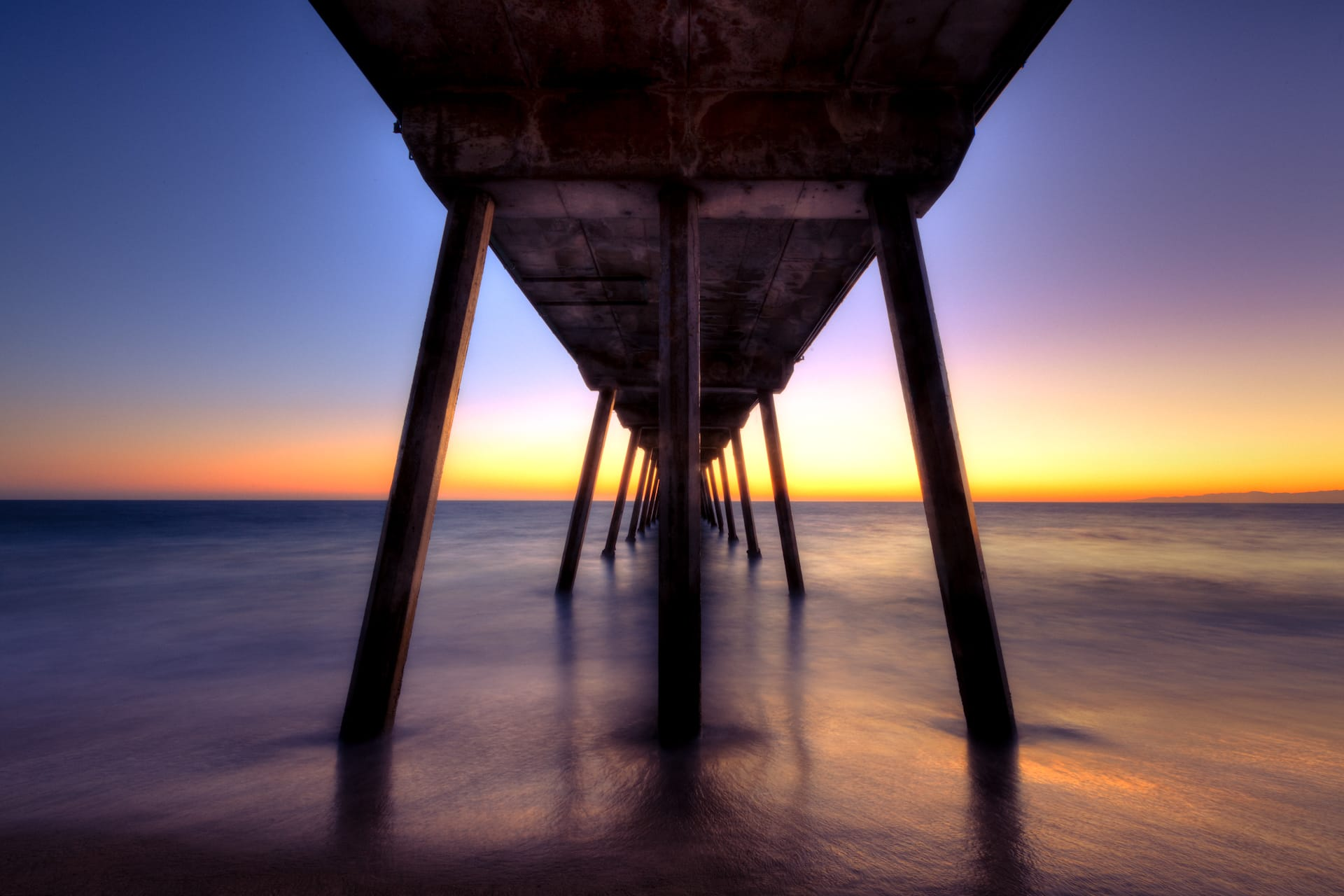 Hermosa Pier, Night Photography, HDR, Long Exposure, Purple Sky, Beautiful Sunset