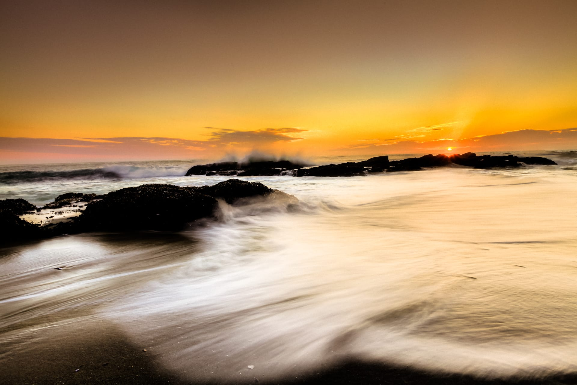 Orange Sky of Laguna Beach, HDR Photography, Beach Photography