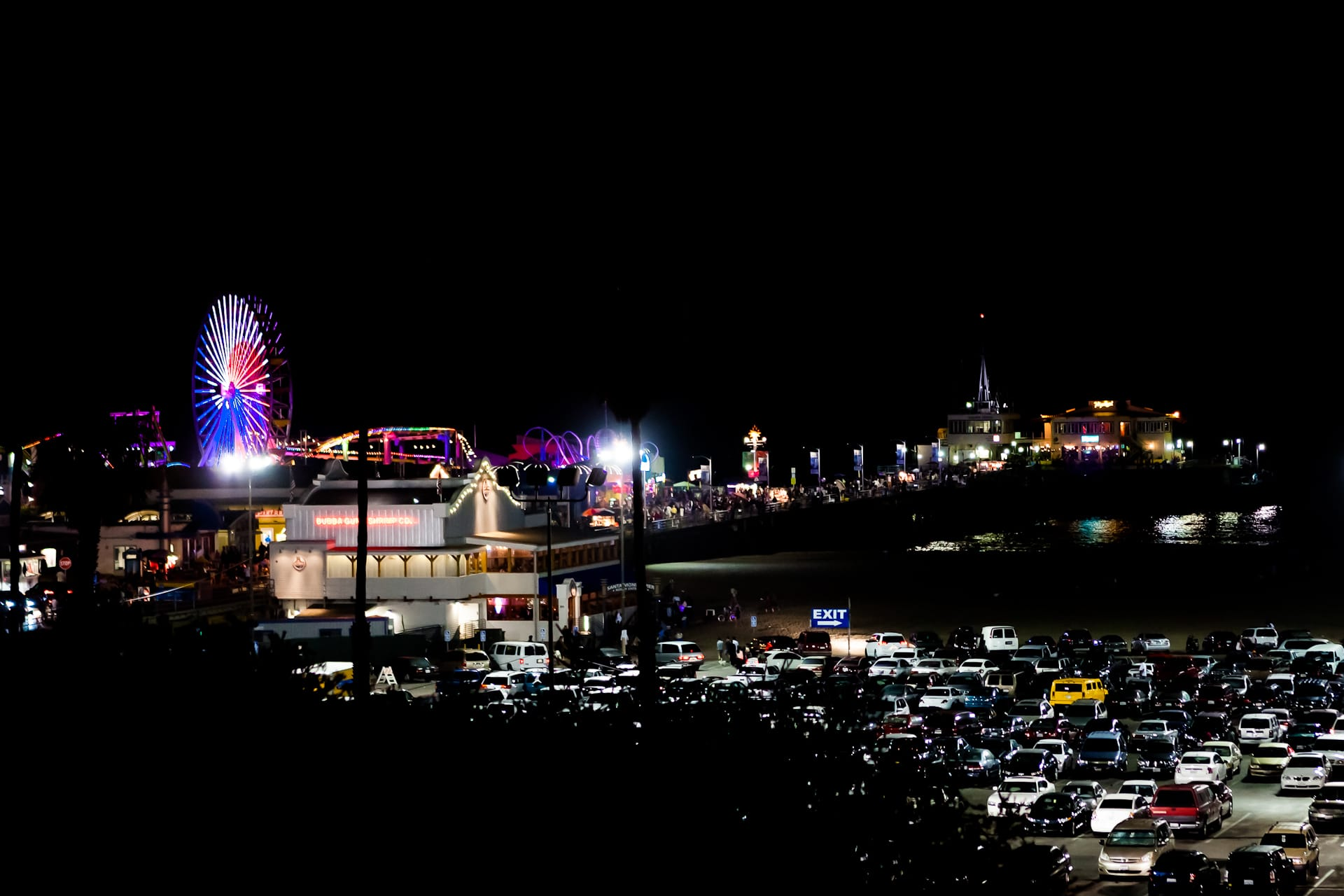 Santa Monica Pier Ferris Wheel California Los Angeles Night Photography