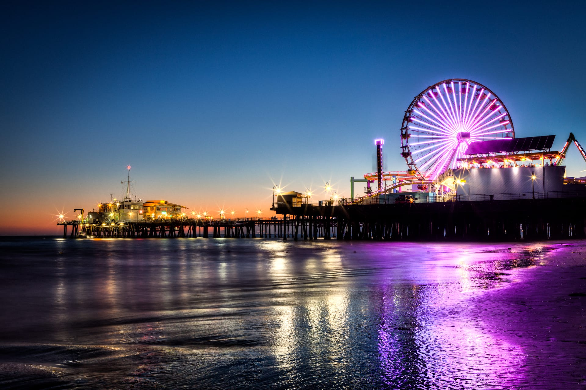 Santa Monica Pier Ferris Wheel Amusement Park HDR
