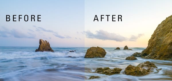 Before and after color balance.