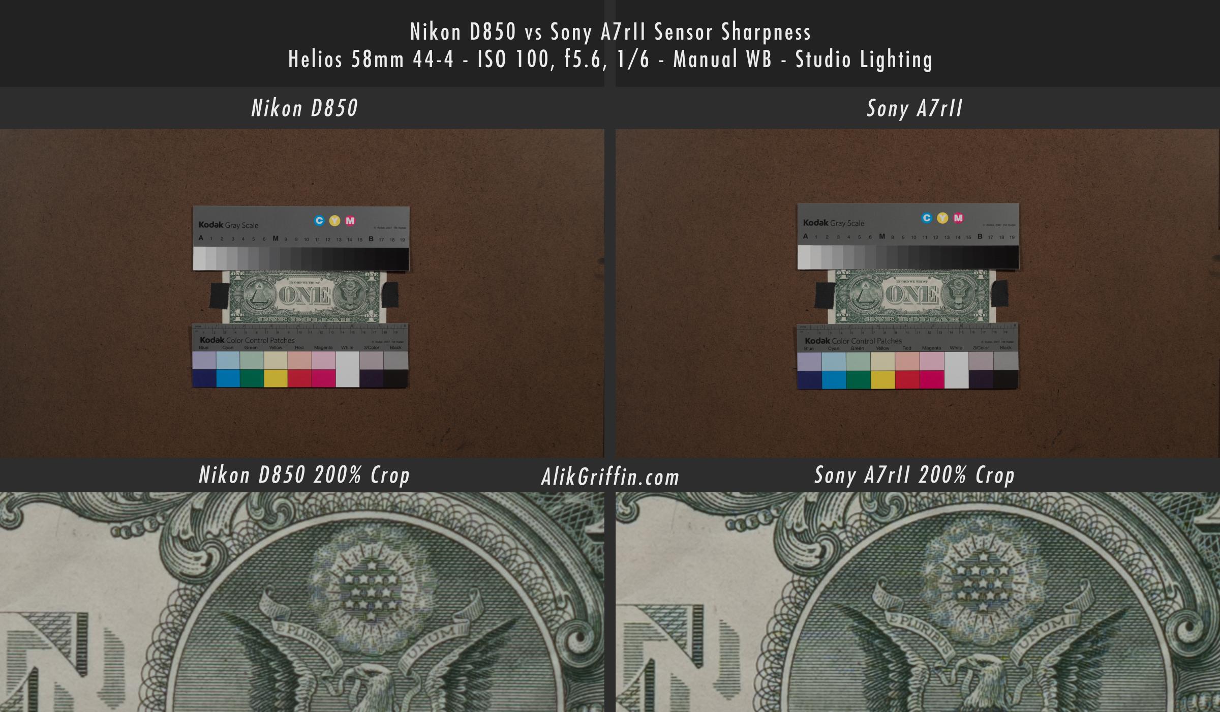 Nikon D850 vs Sony A7rII Sensor Sharpness Comparison