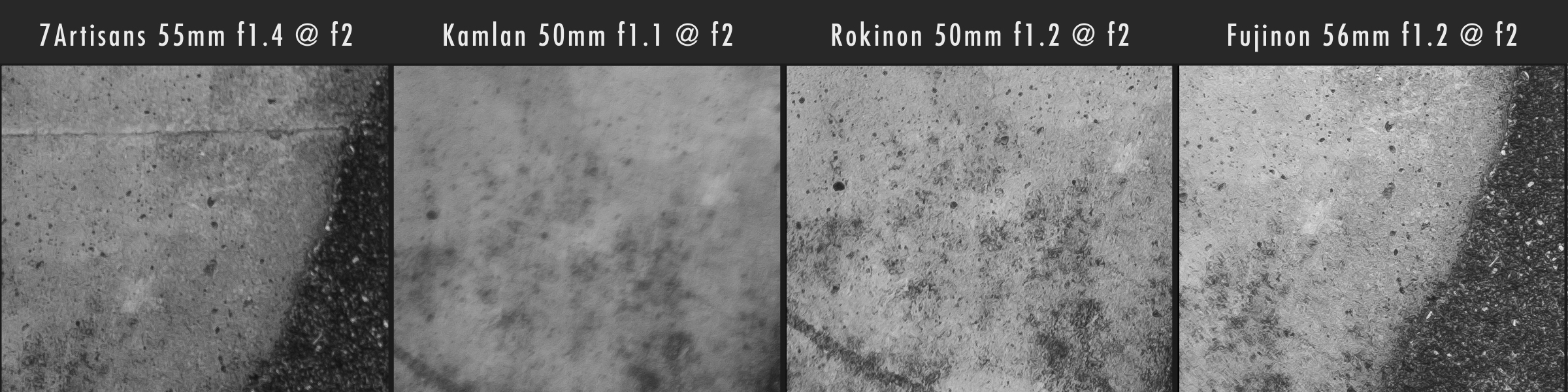 Kamlan 50mm f1.1 vs 7Artisans 55mm f1.4 vs Rokinon 50mm f1.2 Corner Sharpness @ f2