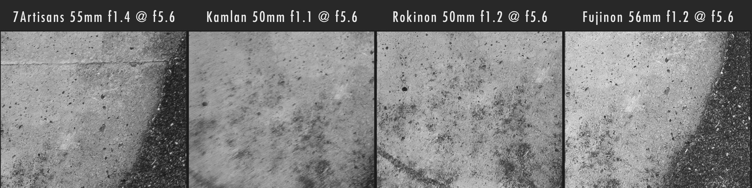 Kamlan 50mm f1.1 vs 7Artisans 55mm f1.4 vs Rokinon 50mm f1.2 Corner Sharpness @ f5.6