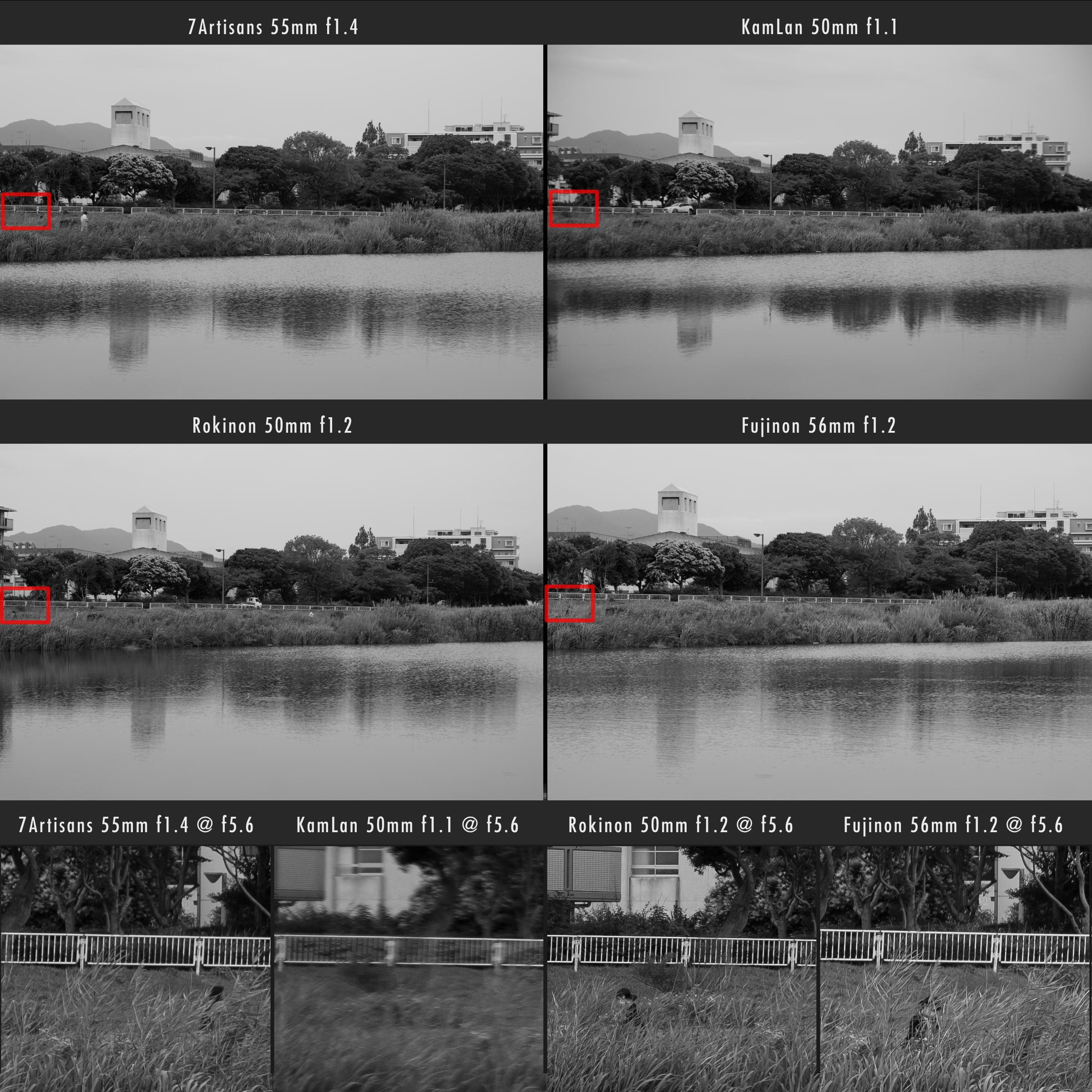 Kamlan 50mm f1.1 vs 7Artisans 55mm f1.4 vs Rokinon 50mm f1.2 Edge Sharpness Comparison f5.6