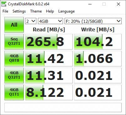 Lexar1667x v60 64GB UHS-II Crystal Disk Speeds